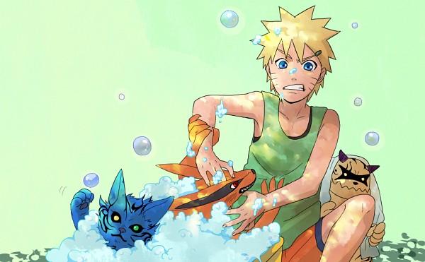 Tags: Anime, Sakuraba Chizuru, NARUTO, Shukaku, Kyuubi (NARUTO), Nibi no Bakeneko, Uzumaki Naruto, Washing, Fanart From Pixiv, Fanart, PNG Conversion, Pixiv, Tailed Beasts
