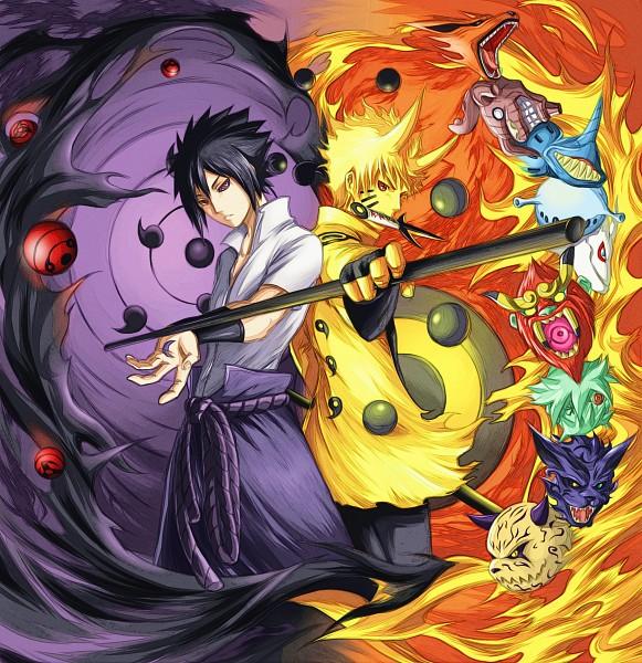 Tags: Anime, Pixiv Id 10165784, NARUTO, Sanbi no Kyodaigame, Nanabi, Nibi no Bakeneko, Rokubi, Gobi, Shukaku, Uchiha Sasuke, Yonbi, Kyuubi (NARUTO), Hachibi