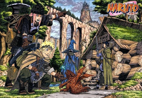Tags: Anime, Kishimoto Masashi, NARUTO, Haruno Sakura, Hatake Kakashi, Uchiha Sasuke, Uzumaki Naruto, Gnome, Sorcerer, Manga Page, WEEKLY JUMP (Source), Chapter Cover, Scan