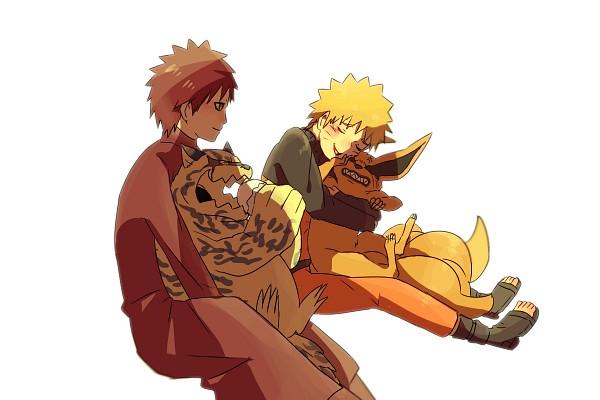 Tags: Anime, Pixiv Id 4519096, NARUTO, Kyuubi (NARUTO), Gaara, Uzumaki Naruto, Shukaku, Orange Pants, Fanart, Pixiv, Fanart From Pixiv