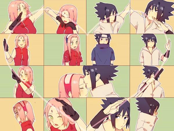Tags: Anime, Pixiv Id 1415264, NARUTO, Haruno Sakura, Uchiha Sasuke, Heart Gesture Duo, Fanart From Pixiv, Fanart, Pixiv, Hātotoresu, SasuSaku