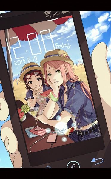 Tags: Anime, Pixiv Id 7513453, NARUTO, Haruno Sakura, Uchiha Sarada, Holding Phone, Fanart, Fanart From Pixiv, Mobile Wallpaper, Pixiv