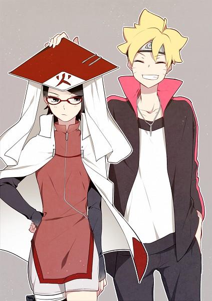 Tags: Anime, Pixiv Id 3536917, BORUTO: Naruto Next Generations, NARUTO, Uzumaki Boruto, Uchiha Sarada, Hokage Outfit, PNG Conversion, Twitter, BoruSara