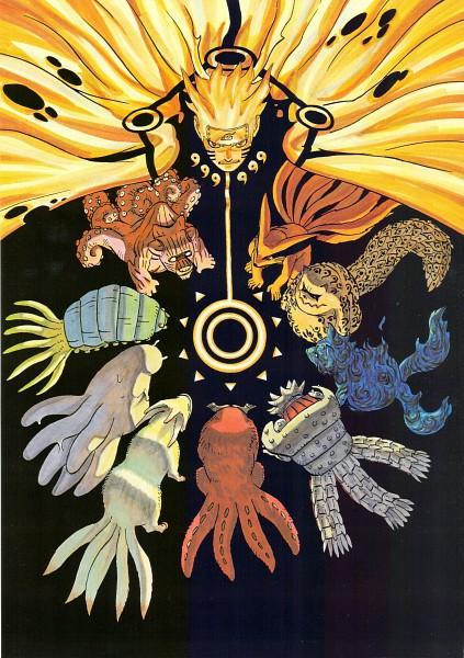 Tags: Anime, Kishimoto Masashi, Illustration Collection: Uzumaki Naruto, NARUTO, Gobi, Shukaku, Yonbi, Hachibi, Sanbi no Kyodaigame, Kyuubi (NARUTO), Nanabi, Nibi no Bakeneko, Rokubi