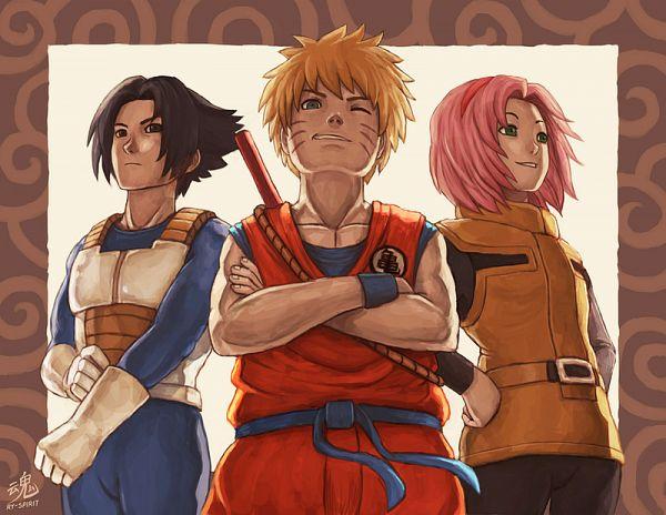 Tags: Anime, Ry-Spirit, NARUTO, Uchiha Sasuke, Uzumaki Naruto, Haruno Sakura, DRAGON BALL (Parody), Vegeta (Cosplay), Bulma Briefs (Cosplay), Son Goku (DRAGON BALL) (Cosplay), Fanart From DeviantART, deviantART, Fanart