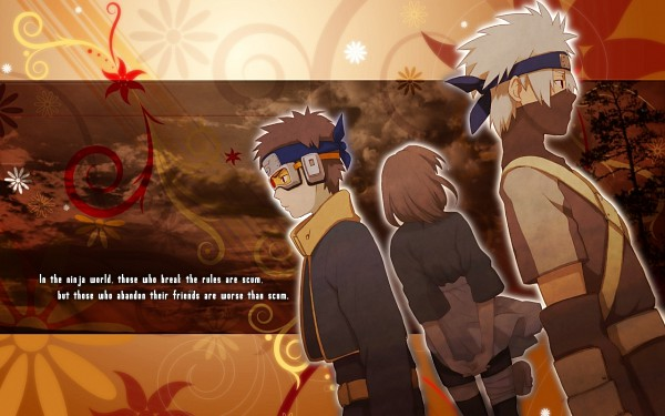 Tags: Anime, NARUTO, Hatake Kakashi, Uchiha Obito, Nohara Rin, Wallpaper, Team Minato