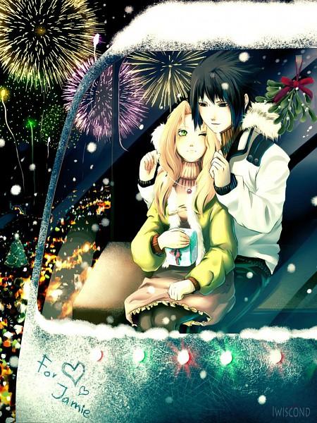 Tags: Anime, Iwiscond, NARUTO, Uchiha Sasuke, Haruno Sakura, Holding Gift, Mistletoe, deviantART, SasuSaku