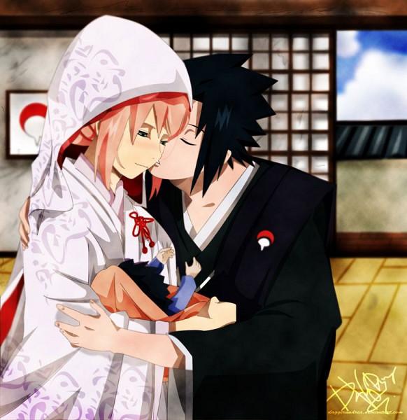 Tags: Anime, NARUTO, Fan Character, Uchiha Sasuke, Haruno Sakura, Shiromuku, Japanese Wedding, Uchiha Symbol, Artist Request, Uchiha Clan