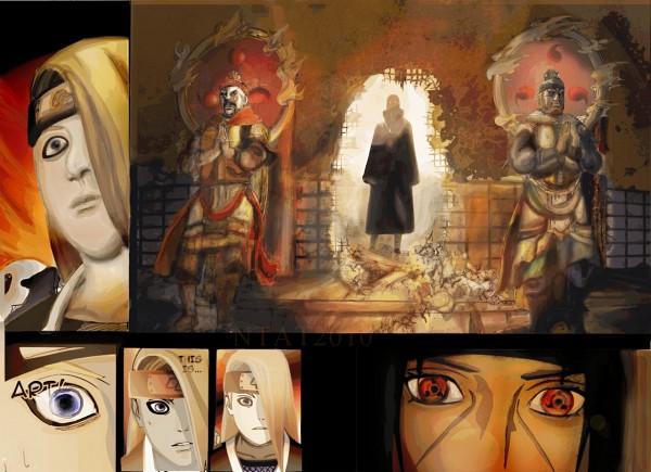 Tags: Anime, NARUTO, Deidara, Uchiha Itachi, Artist Request, Colorization, Akatsuki (NARUTO)