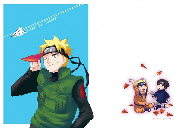 Tags: Anime, Oda Kanan, NARUTO, Uzumaki Naruto, Uchiha Sasuke, Paper Airplane, Fanart, Jinchuuriki