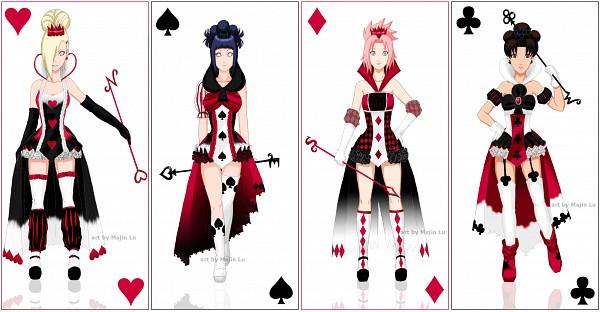 Tags: Anime, Majinlu, NARUTO, Hyuuga Hinata, Haruno Sakura, Yamanaka Ino, Tenten, Cards (Personification), Spade (Card), Wallpaper, Facebook Cover, deviantART