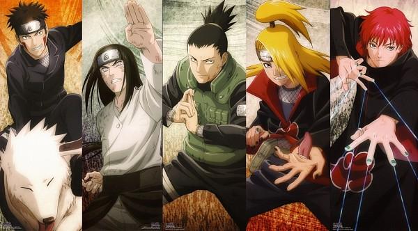 Tags: Anime, Studio Pierrot, NARUTO, Deidara, Nara Shikamaru, Inuzuka Kiba, Akamaru (NARUTO), Hyuuga Neji, Sasori, Puppetmaster, Facebook Cover, Official Art, Akatsuki (NARUTO)