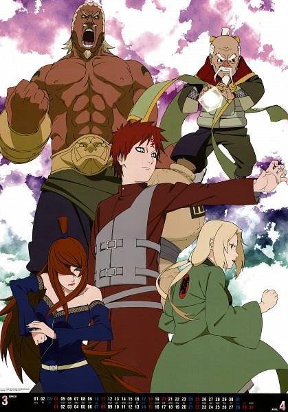 Tags: Anime, NARUTO, Tsunade, A (NARUTO), Gaara, Terumii Mei, Ryoutenbin no Ounoki, Tsuchikage, Mobile Wallpaper, Official Art, Calendar (Source), Gokage, Jinchuuriki