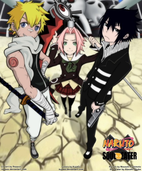 Tags: Anime, NARUTO, Uchiha Sasuke, Haruno Sakura, Black Star (Cosplay), Death the Kid (Cosplay), Maka Albarn (Cosplay), Death Scythe, SOUL EATER (Parody), Fanart, deviantART, Artist Request, Team 7
