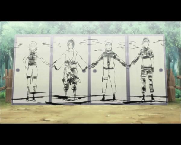 Tags: Anime, NARUTO, Uchiha Sasuke, Uzumaki Naruto, Haruno Sakura, Sai, Drawing (Object), Screenshot, Wallpaper, Jinchuuriki, Team 7