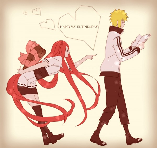 Tags: Anime, Pixiv Id 2476860, NARUTO, Namikaze Minato, Uzumaki Kushina, Chocolate Heart, Pixiv, Fanart, MinaKushi