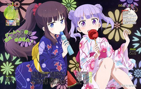 Tags: Anime, Dogakobo, NEW GAME!, Takimoto Hifumi, Suzukaze Aoba, Ramune Soda, Candy Apple, Official Art, Scan
