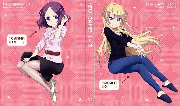 Tags: Anime, Kikuchi Ai, Dogakobo, NEW GAME!, Touyama Rin, Yagami Kou, DVD (Source), Wallpaper, Official Art, Scan