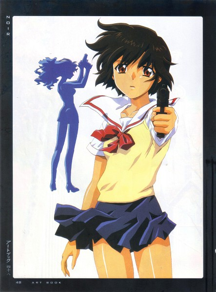 Tags: Anime, NOIR, Yuumura Kirika, Bouquet Mireille, Aiming At Camera, Scan, Official Art