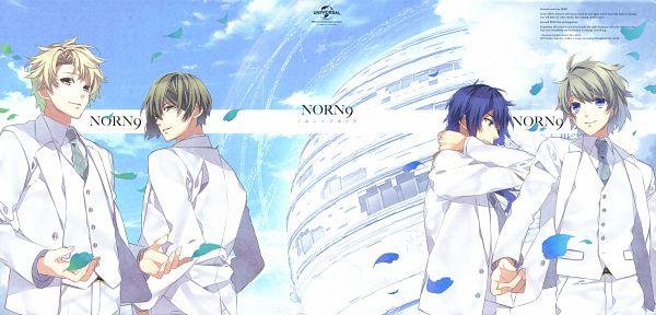 Tags: Anime, Teita, NORN9 ~Norn + Nonette~, Ichinose Senri, Shukuri Akito, Yuiga Kakeru, Azuma Natsuhiko, Hand on Neck, Official Art, Scan, DVD (Source)