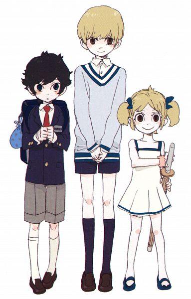 Tags: Anime, Nabari no Ou, Meguro Gau, Shimizu Raikou, Shimizu Raimei, Bowl Cut, Flip Flops, Shinai, Mobile Wallpaper, King Of Nabari