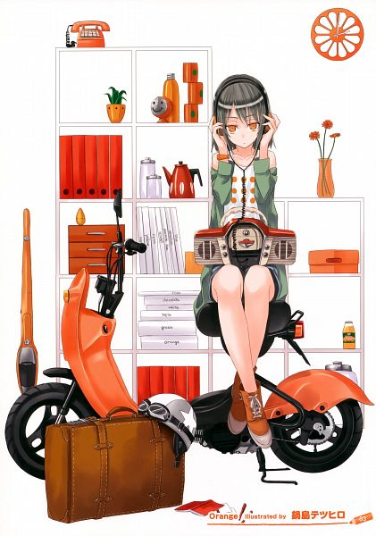 Tags: Anime, Nabeshima Tetsuhiro, Girls Girls Girls! 8 -Colorful Girls-, Radio, Kettle, Potted Plant, Scooter, Scan, Pixiv