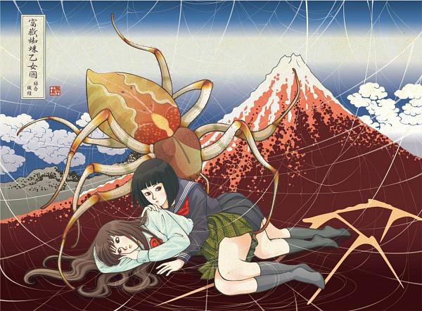 Tags: Anime, Nadeshiko Rin, Nihonga, Mount Fuji, Spider, Fine Art Parody, Ukiyoe, Pixiv