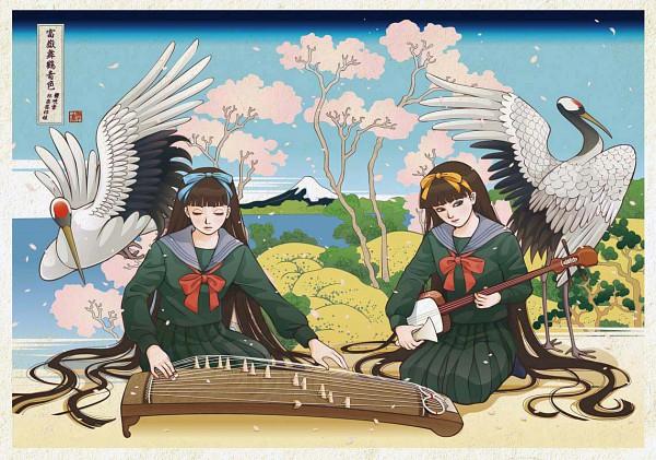 Tags: Anime, Nadeshiko Rin, Crane, Fine Art Parody, Heron, Nihonga, Koto (Instrument), Mount Fuji, Stork, Shamisen, Ukiyoe, Pixiv