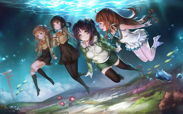 Tags: Anime, Yykuaixian, Nagi no Asukara, Mukaido Manaka, Hisanuma Sayu, Shiodome Miuna, Hiradaira Chisaki, HD Wallpaper, Wallpaper, Nagi-asu: A Lull In The Sea