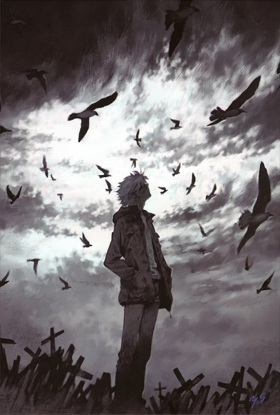 Tags: Anime, Yoshiyuki Sadamoto, Neon Genesis Evangelion, Nagisa Kaworu, Mobile Wallpaper, Official Art, Scan
