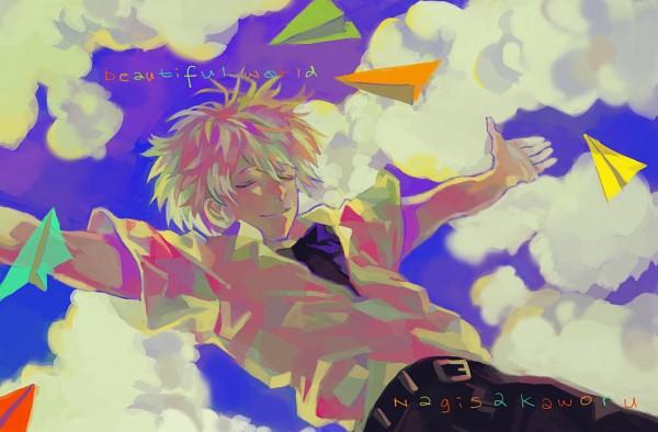 Tags: Anime, Pixiv Id 2544854, Neon Genesis Evangelion, Nagisa Kaworu, Paper Airplane, Fanart From Pixiv, Fanart, Pixiv