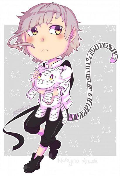 Tags: Anime, Bungou Stray Dogs, Nakajima Atsushi (Bungou Stray Dogs), White Tiger, Hugging Toy, Fanart