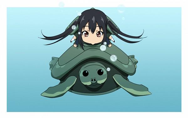 Tags: Anime, Zucchini, K-ON!, Ton-chan, Nakano Azusa, Turtle, Wallpaper