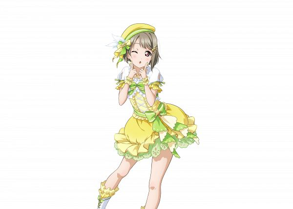 Tags: Anime, KLab, Love Live! School Idol Festival ALL STARS, Love Live! School Idol Festival, Nakasu Kasumi, Yellow Hat, Finger On Cheek, Yellow Headwear, Leg in Air, Hat Feather, Official Art