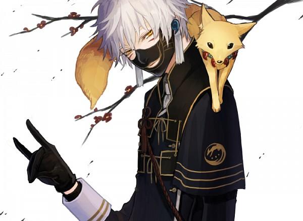 Tags: Anime, Yanmada, Touken Ranbu, Nakigitsune, Magatama, Fox Handsign, Fanart From Pixiv, PNG Conversion, Pixiv, Fanart