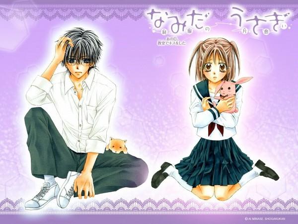 Tags: Anime, Minase Ai, Namida Usagi - Seifuku no Kataomoi, Usami Momoka, Narumi Takahiro, Official Wallpaper, Wallpaper, Official Art