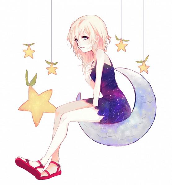 Tags: Anime, Vee-ko, Naminé, Sitting On Moon, Paopu Fruit, Fanart, Tumblr, PNG Conversion