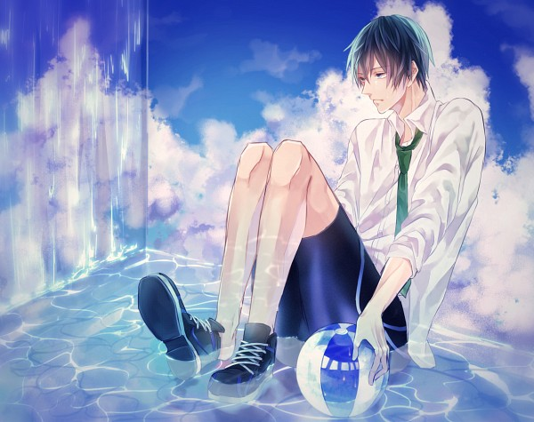 Tags: Anime, AiRM, Free!, Nanase Haruka (Free!), Kurze Hose, Sitting In Water, Pixiv, Fanart, Fanart From Pixiv