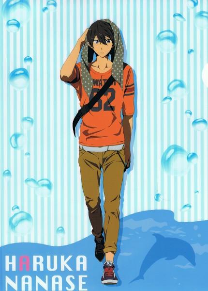 Tags: Anime, Utsumi Hiroko, Kyoto Animation, Free!, Nanase Haruka (Free!), Dolphin, Mobile Wallpaper, Official Art, Scan