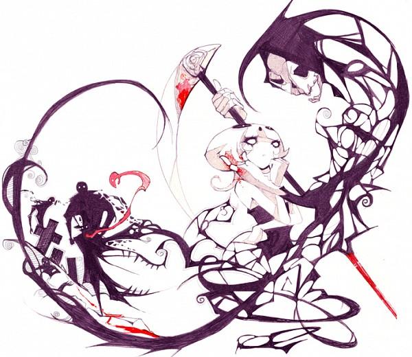 Tags: Anime, Nanomortis, Grim Reaper, Blood On Weapons, Grave, Swirls, Original, deviantART