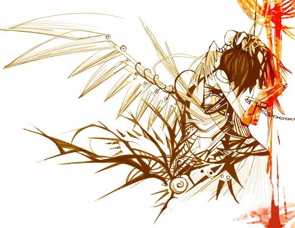 Tags: Anime, Nanomortis, Bird on Head, Swirls, Mechanical Wings, Shackles, Blind, Waterfall, Faceless, deviantART, Original