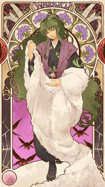 Tags: Anime, Pixiv Id 3529837, InuYasha, Naraku, Shikon no Tama, Concentric Circles, Bellflower, Art Nouveau, Spider, Mobile Wallpaper