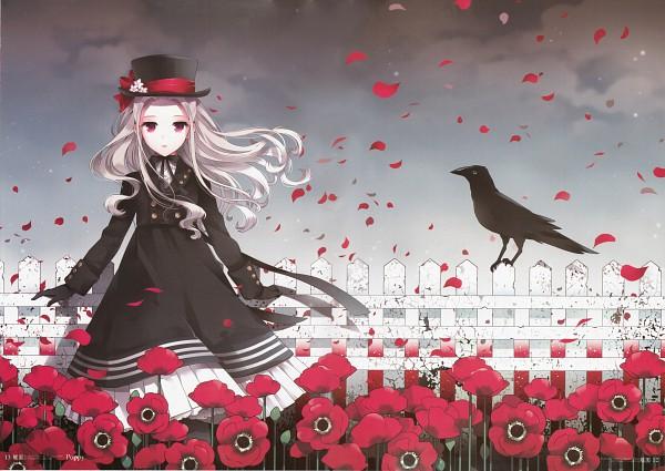 Tags: Anime, Nardack, Butterfly Garden, Gray Sky, Poppy, Original, Scan, Pixiv