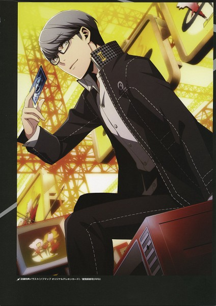 Tags: Anime, Soejima Shigenori, Persona 4 The Ultimate In Mayonaka Arena - Official Design Works, Persona 4: The Ultimate In Mayonaka Arena, Shin Megami Tensei: PERSONA 4, Narukami Yu, Houndstooth Pattern, Official Art, Mobile Wallpaper, Scan