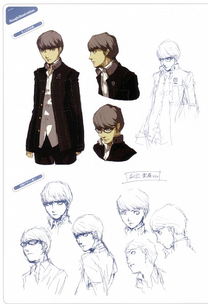 Tags: Anime, Soejima Shigenori, Atlus, P4 Official Design Works, Shin Megami Tensei: PERSONA 4, Narukami Yu, Official Art, Sketch, Character Sheet