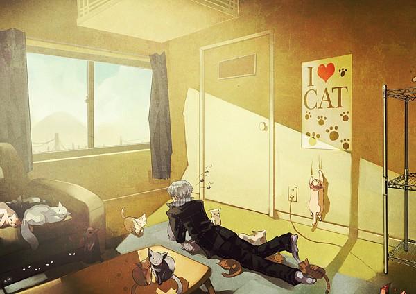 Tags: Anime, Pixiv Id 25085, Shin Megami Tensei: PERSONA 4, Narukami Yu, Poster (Object), Shelf, Fanart, Pixiv