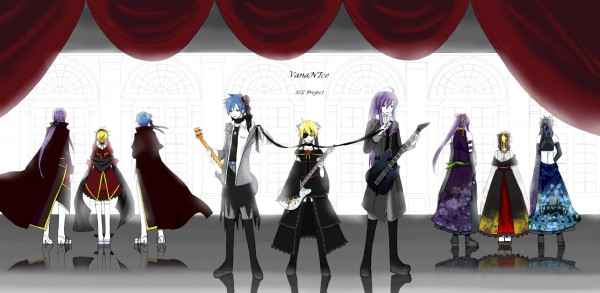 Tags: Anime, Takayan, VOCALOID, Kagamine Len, Kamui Gakupo, KAITO, Playing Guitar, SCL Project, Song-Over, 「Fate:Rebirth」, IMITATION BLACK, Facebook Cover, Natsu-p