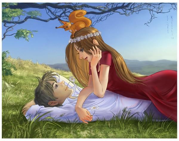 Tags: Anime, Natsuki-3, Wreath, Flower In Mouth, Daisy (Flower), deviantART, Original