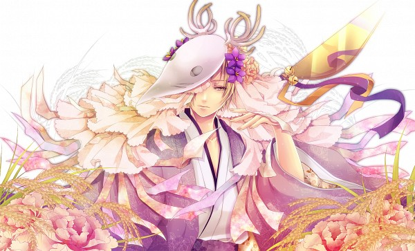 Tags: Anime, Domco, Natsume Yuujinchou, Natsume Takashi, Deer Mask, Houzukigami (Cosplay), Norns, PNG Conversion, Fanart, Pixiv