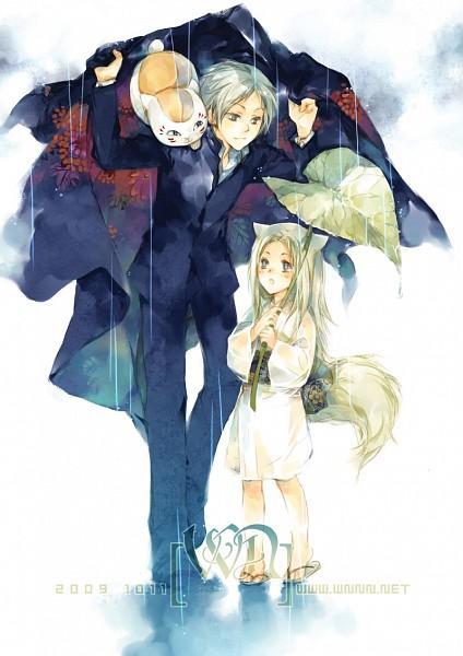 Tags: Anime, Pixiv Id 1470994, Natsume Yuujinchou, Natsume Takashi, Nyanko-sensei, Kogitsune, Leaf Umbrella, Fanart, Mobile Wallpaper, Fanart From Pixiv, Pixiv, Natsume's Book Of Friends